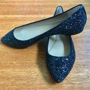 Ann Taylor Black Glitter Flats